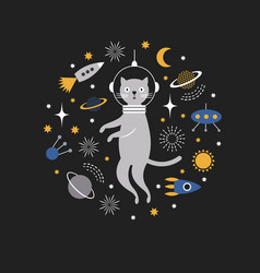 space cat spaceman vector image