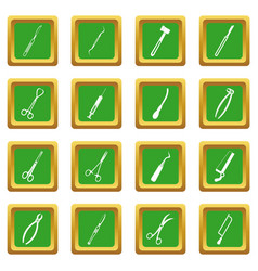 Surgeons tools icons set green vector