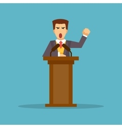 The speaker stands behind the podium vector image