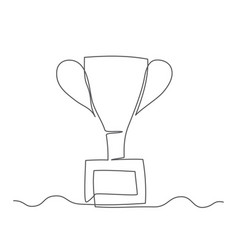 trophy cup one line drawing trophy cup in vector image