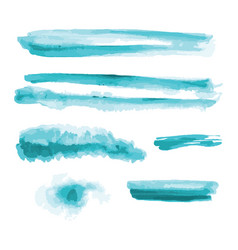 Turquoise blue watercolor shapes splotches stains vector