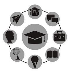 White background with monochrome graduation cap vector