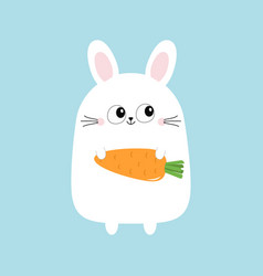 White bunny rabbit holding carrot funny head face vector