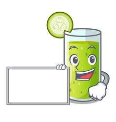 with board character fresh juice of green cucumber vector image