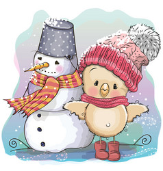 cute chicken and snowman vector image