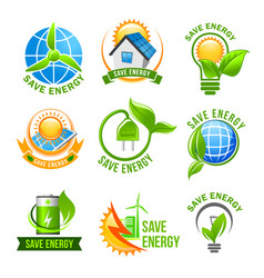 eco green energy icon set for ecology design vector image