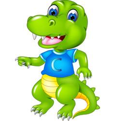 funny crocodile cartoon dancing with smile vector image vector image