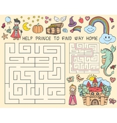 hand drawn doodle of maze with vector image