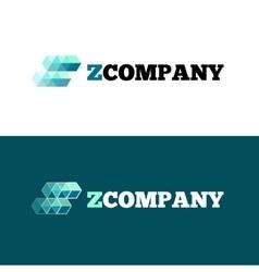 modern orange Z letter logo Abstract cubes vector image