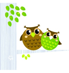 owls sitting on the branch vector image vector image