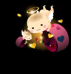 Baby angel with hearts vector image vector image