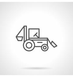 Backhoe loader black line icon vector image