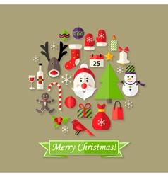 Christmas Ball Flat Icons Set with Santa Claus vector image vector image