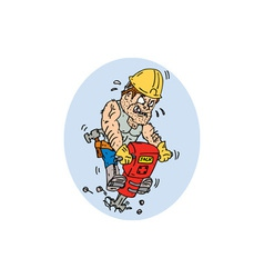 Construction Worker Jackhammer Drilling Cartoon vector image