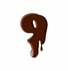 Number 9 from latin alphabet made of chocolate vector image