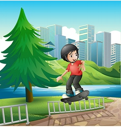 A boy skateboarding near the riverbank vector image vector image