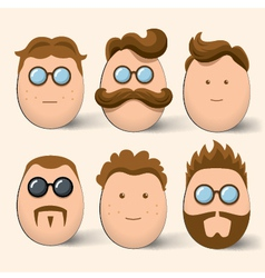 Egg characters face set vector image vector image