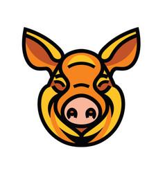 funny smiling orange pig vector image