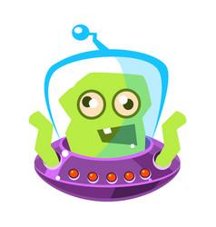 Furious green alien cute cartoon monster vector