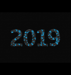 2019 blue broken numbers vector image