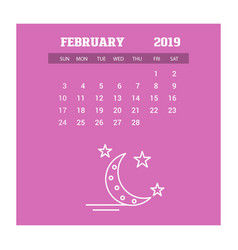 2019 happy new year february calendar template vector image