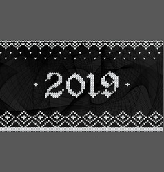 2019 knitted on black abstract wave vector image