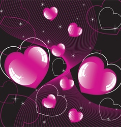 abstract background of shiny hearts vector image