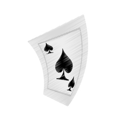 Aces spades poker playing card drawing vector
