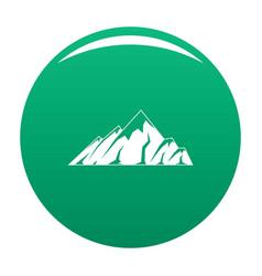 Alpine mountain icon green vector