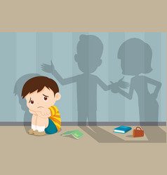 Angry family quarreling with sad child vector