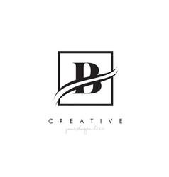 b letter logo design with square swoosh border vector image