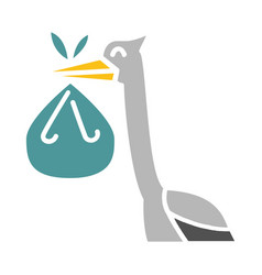 baby stork color icon design sign vector image