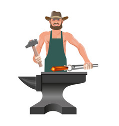 Blacksmith with his tools vector