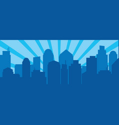 blue sunrise and modern silhouette city in pop vector image