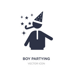 Boy partying icon on white background simple vector