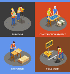 builders isometric design concept vector image