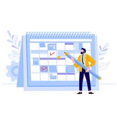 businessman check calendar man with pencil vector image