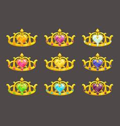 cartoon golden princess crowns set vector image