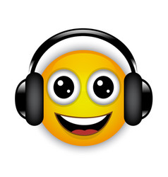 cheerful musical emoticon with headphones vector image