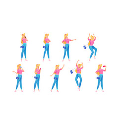 cheerful young girl in jeans poses set vector image