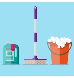cleaning set in flat style vector image