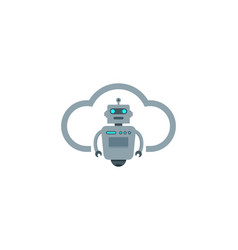 cloud robot logo icon design vector image