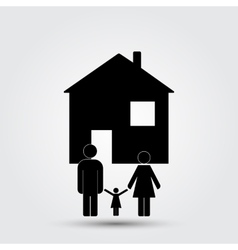 Concept image of a family under an abstract house vector
