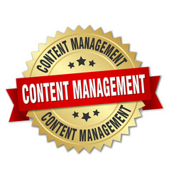 Content management round isolated gold badge vector