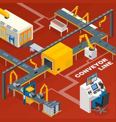 Conveyor line and operator concept vector