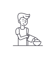 cooking breakfast line icon concept cooking vector image