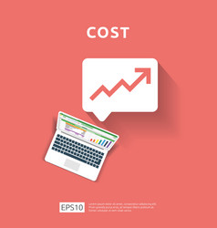 Cost fee spending increase with arrow rising up vector