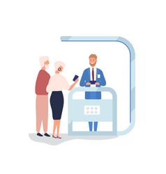 customer choosing gadgets at promotional stall vector image