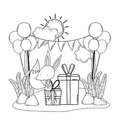 cute and little fox with balloons helium in the vector image