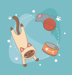 cute little cat mascot with tuna can and wool roll vector image